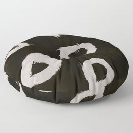 Round, Abstract, White & Black Floor Pillow