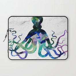 Watercolour Octopus on Marble Background Laptop Sleeve