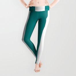 Vertical Stripes - White and Dark Cyan Leggings