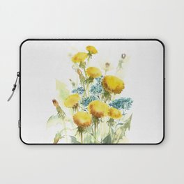 Watercolor flowers of blowball and forget-me-not Laptop Sleeve