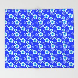 Blue Floral And Turtles Hawaiian Pattern Throw Blanket