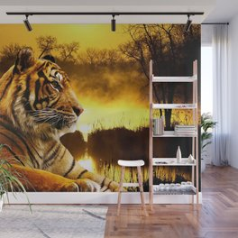 Tiger and Sunset Wall Mural