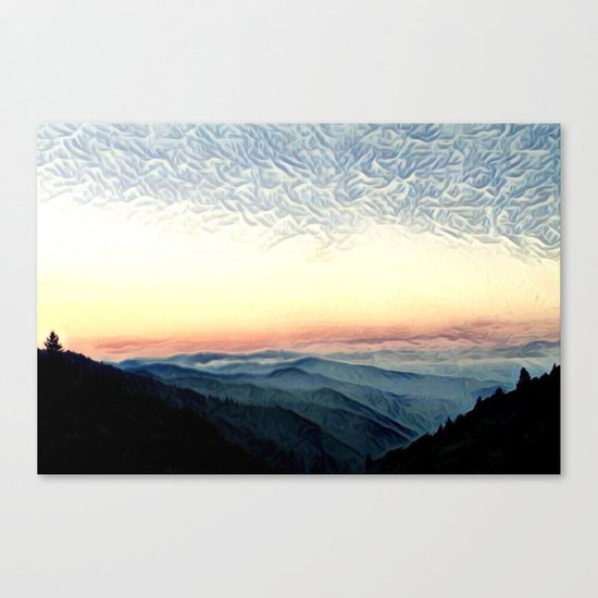 Pastel Sunset over Mountains (Hipster Landscape) Canvas Print