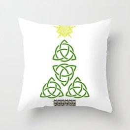 Nollaig Shona Gaelic Christmas Celtic Knot Irish Christmas Throw Pillow