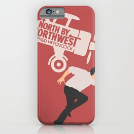 North by northwest, Alfred Hitchcock minimalist movie poster, thriller, Cary Grant, Eva Marie Saint iPhone Case