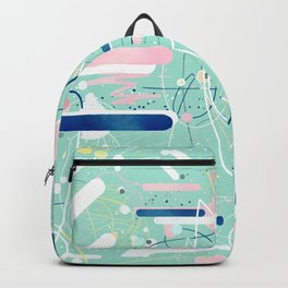 Modern mint strokes and dots creative art Backpack