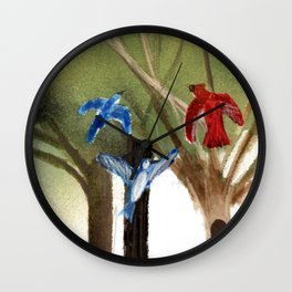 Blue Jays and Red Cardinal Wall Clock