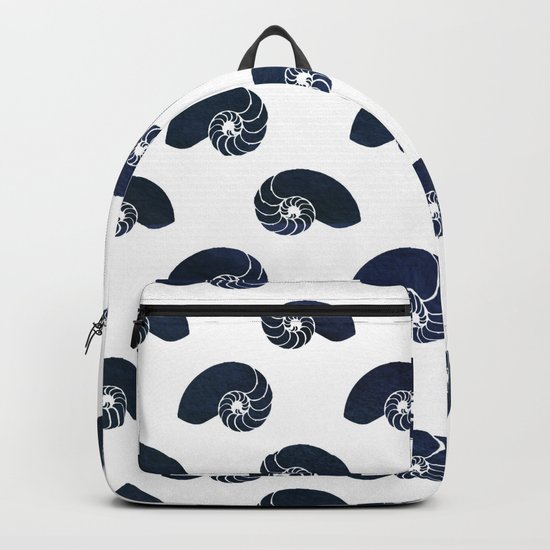 Navy blue maritime sea shell pattern- Animals Backpack