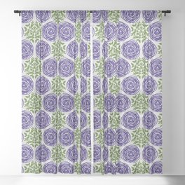 SCION purple blue spring bloom with greenery pattern Sheer Curtain