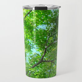 Canopy of Green, Leafy Branches with Blue Sky Travel Mug