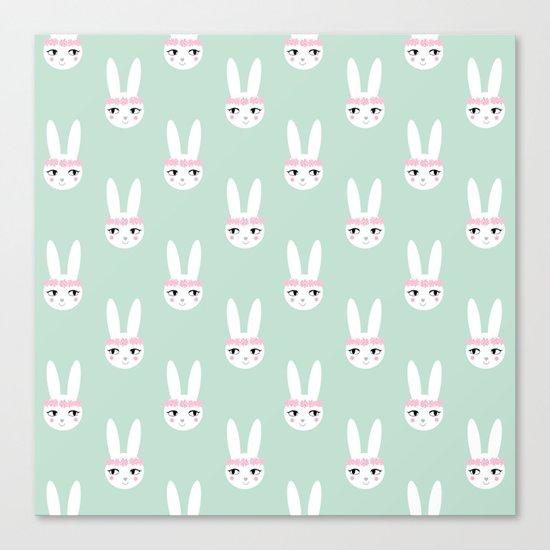 Bunny Rabbit mint spring cute character illustration nursery kids minimal floral crown Canvas Print