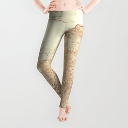 1948 Topographical Map of the Grand Canyon National Park in Arizona Leggings