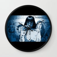 mia wallace Wall Clocks featuring Pulp Fiction - Mia Wallace by Rob O'Connor