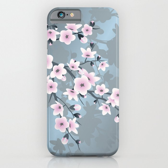 Dusky Pink Grayish Blue Cherry Blossom Iphone Case By