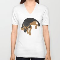 german shepherd V-neck T-shirts featuring German Shepherd by Sarah