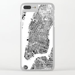 New York City Map United States White and Black Rubbing Clear iPhone Case