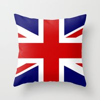 british flag Throw Pillows featuring British Union Flag by PICSL8