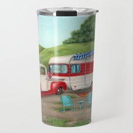 Patriotic Vintage Camper And Truck Travel Mug