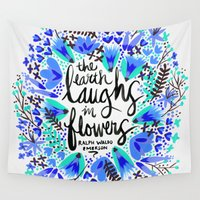 waldo Wall Tapestries featuring The Earth Laughs in Flowers – Turquoise & Blue by Cat Coquillette