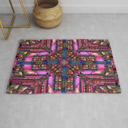 no. 257 pink green multicolored pattern with blue Rug