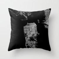 san francisco map Throw Pillows featuring san francisco map by Line Line Lines