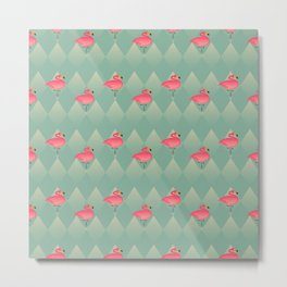Sugar Flamingo Pattern Metal Print