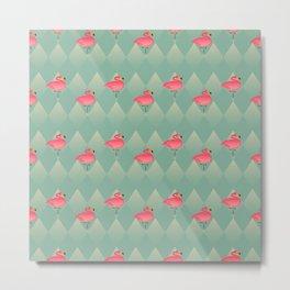 Sugar Flamingo Pattern Metal Print