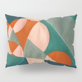 The Sunset & The Mountains Retro Abstract Art - Teal & Burnt Sienna Pillow Sham