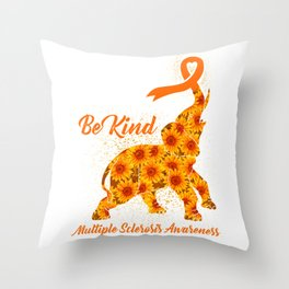 Be Kind Cute Elephant Multiple sclerosis Throw Pillow