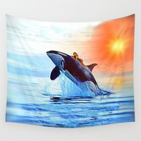 orca Wall Tapestries featuring Orca Queen by JT Digital Art