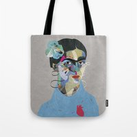 frida Tote Bags featuring Frida by Zaneta Antosik