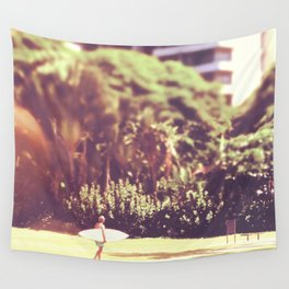 I'll Bring My Board to Work Surfer Hawaii Surfboard Waikiki Beach People Photography  Wall Tapestry
