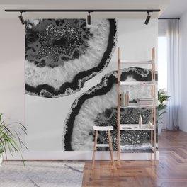 Gray Black White Agate Glitter Glamor #2 #gem #decor #art #society6 Wall Mural