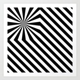 Stripes explosion - Black Art Print