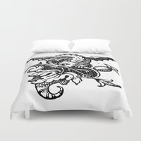 pee wee Duvet Covers featuring Wee Wyvern by Bramble & Posy