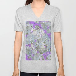 DELICATE LILAC & WHITE LACE FLORAL GARDEN PATTERNS Unisex V-Neck