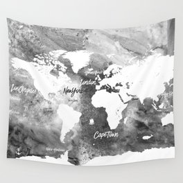 The world's most beautiful ports, map Wall Tapestry