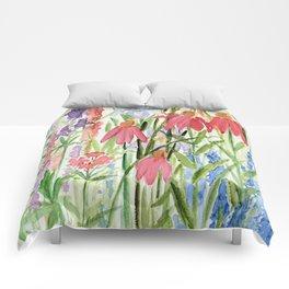 Garden Flowers Watercolor Comforters