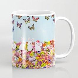 bunnies, flowers, and butterflies Coffee Mug