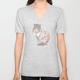 Exotic trendy Mystical cat drawing Unisex V-Neck