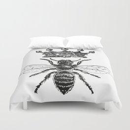 Queen Bee   Black and White Duvet Cover