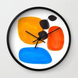 Abstract Mid Century Modern Colorful Minimal Pop Art Yellow Orange Blue Bubbles Ovals Wall Clock