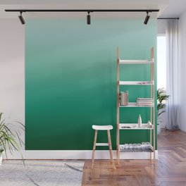 Ombre Teal Green Gradient Pattern Wall Mural