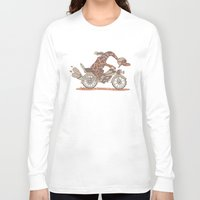 motorbike Long Sleeve T-shirts featuring Giraffe on a motorbike by schäferhäst