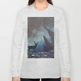 Deer Under The Starry Sky Long Sleeve T-shirt