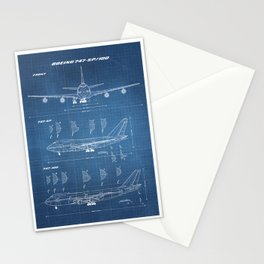 Boeing 747-SP and 747-100 Blueprint in High Resolution (light blue) Stationery Cards