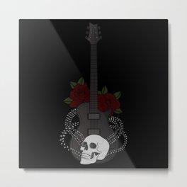 Skull and Guitar Metal Print