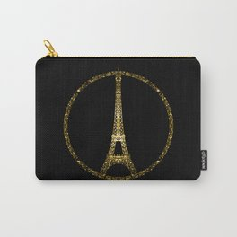 Eiffel Tower gold sparkles peace symbol Carry-All Pouch