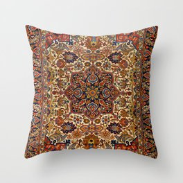 Persia Tabriz 19th Century Authentic Colorful Blue Red Yellow Vintage Patterns Throw Pillow