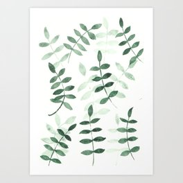 Green leaf pattern Art Print